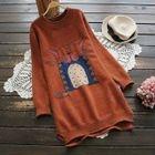 Long-Sleeve Printed Sweater Dress 1596
