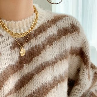 Loose-fit Zebra Sweater Beige - One Size