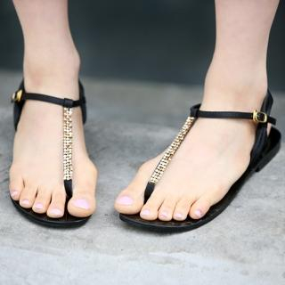 Picture of Jean Stone T-Strap Sandals 1022847868 (Sandals, Jean Stone Shoes, Korea Shoes, Womens Shoes, Womens Sandals)