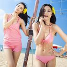 Set: Plain Bikini + Cover-Up Top + Shorts 1596