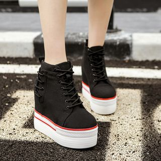 Image of Hidden Wedge Platform Slip-Ons Black - 34