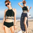 Swim Set: Strappy Halter Tankini + Slit-Side Check Skirt 1596