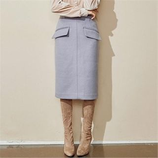 Image of Flap-Front Wool Blend Midi Skirt