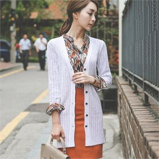 V-Neck Ribbed Long Cardigan 1051601885