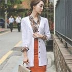 V-Neck Ribbed Long Cardigan 1596