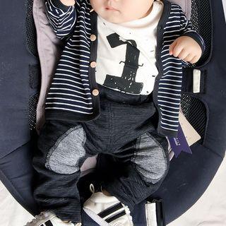 Baby Printed Short-Sleeve Bodysuit / Striped Jacket