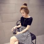 Set: Knit Top + Striped Skirt 1596