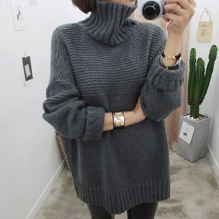 Turtle Neck Ribbed Sweater 1052832572