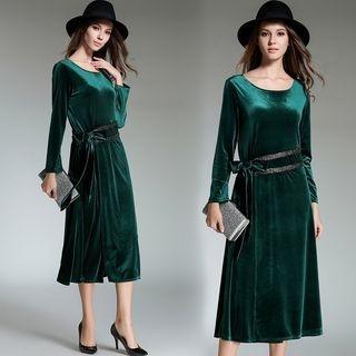 Long-Sleeve Tie-Waist Dress 1063341548