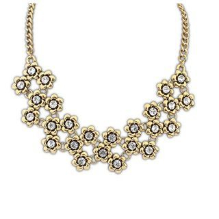 Rhinestone Flower Statement Necklace 1045133901