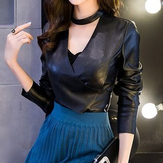 V-neck Faux Leather Long-Sleeve Top 1061068737