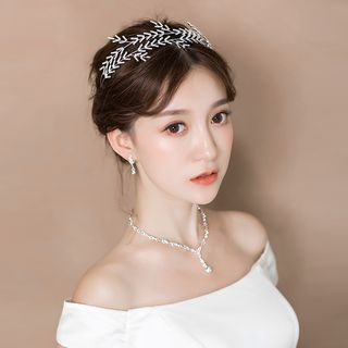 Image of Bridal Faux-Pearl Tiara / Necklace / Earring / Set