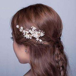 Image of Bridal Rhinestone Faux Pearl Hair Comb