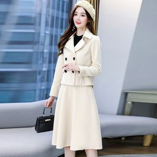 Set: Double-breasted Wool Coat + Midi A-line Skirt