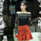 Set: Off-Shoulder Lace Top + Ruffled Skirt 1596