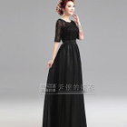 Elbow-Sleeve Lace-Panel Evening Gown 1596