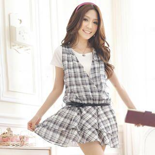 Buy Tokyo Fashion Set: Inset T-Shirt Sleeveless Plaid Mini Dress + Belt 1022972694