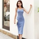 Slit Side Ribbed Bodycon Dress 1596