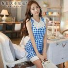 Sleeveless Bow-Accent Check Dress 1596
