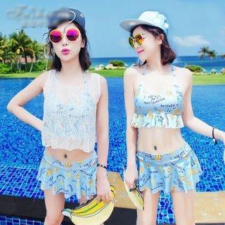 Set: Watermelon Print Bikini + Sleeveless Top 1050475407