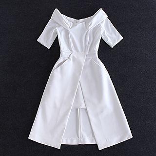 Off-shoulder Short-Sleeve Slit Dress 1049404290