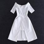 Off-shoulder Short-Sleeve Slit Dress 1596