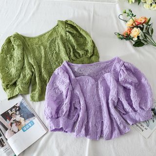 Image of Buttoned Puff-Sleeve Blouse
