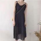 Frilled Dotted Chiffon Dress 1596