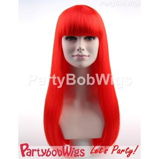 Party | Neon | Long | Size | Wig | Bob | One | Red