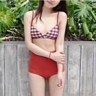 Set: Gingham Bikini Top + Plain Bikini Top + High Waist Bikini Bottoms 1596