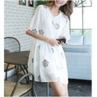 Flower Embroidered Elbow Sleeve Chiffon Dress 1596