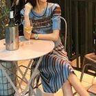 Set: Short-Sleeve Paneled Knit Top + Striped Knit Skirt 1596