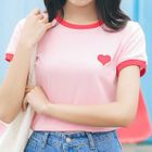 Heart Applique Short-Sleeve T-Shirt 1596