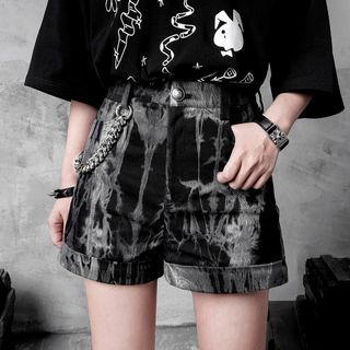 Image of Chained Tie-Dye Print Denim Shorts