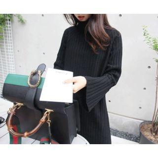 Turtle-Neck Ribbed Knit Dress 1054008046