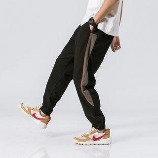 Contrast-Trim Harem Jogger Pants