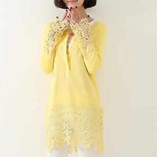 Image of Lace Panel Long Knit Top