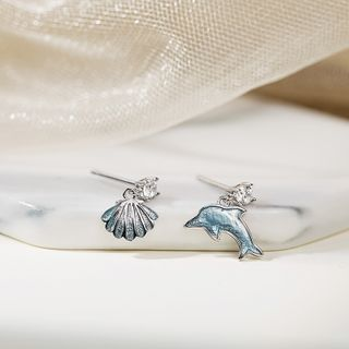 Non-matching 925 Sterling Silver Rhinestone Dolphin & Shel Dangle Earring 1 Pair - Dolphin & Shell Earring - One Size