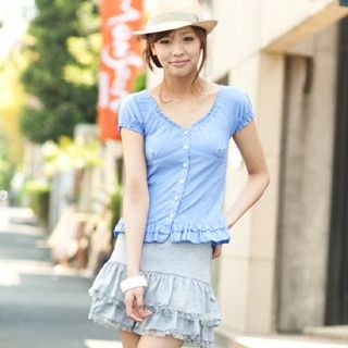 Picture of ageha@shibuya Lace-Up Back Frilled Blouse Light Blue - One Size 1022589699 (ageha@shibuya Apparel, Womens Blouses, Japan Apparel, Japan Blouses)