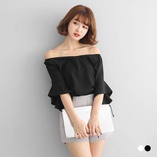 Off-Shoulder Ruffled Sleeve Top 1058221858