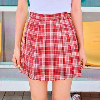 Plaid Pleated Mini Skirt 1060485573
