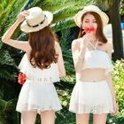 Set: Crochet Trim Bikini Top + Swim Skirt 1596
