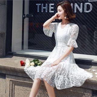 Set: Short-Sleeve A-Line Lace Dress + Strappy Dress 1060970592