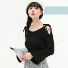 Bell-Sleeve Cold Shoulder Knit Top 1596