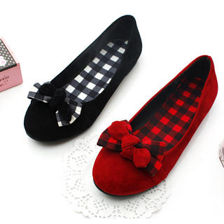 Picture of KAWO Check Bow-Accent Flats 1022773008 (Flat Shoes, KAWO Shoes, China Shoes, Womens Shoes, Womens Flat Shoes)