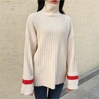 Turtle-Neck Contrast-Trim Ribbed Sweater 1054010014