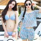 Set: Bikini + Floral Print Top + Shorts 1596