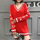 Lettering V-Neck Long Sweater 1596