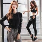Set: Sports Bra + Cropped Pullover + Drawstring Jogger Pants 1596