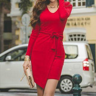 Long-Sleeve Tie-Waist Dress 1054124460